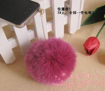 Dstory rhinestone bulb for iphone 4s for apple rabbit fur ball earphones dust plug