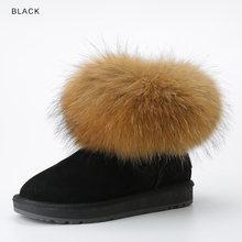 INOE kızlar moda inek süet deri ayak bileği tilki kürk kadın kış çizmeler kadınlar için kısa kar botları tutmak sıcak ayakkabı siyah kahverengi(China)