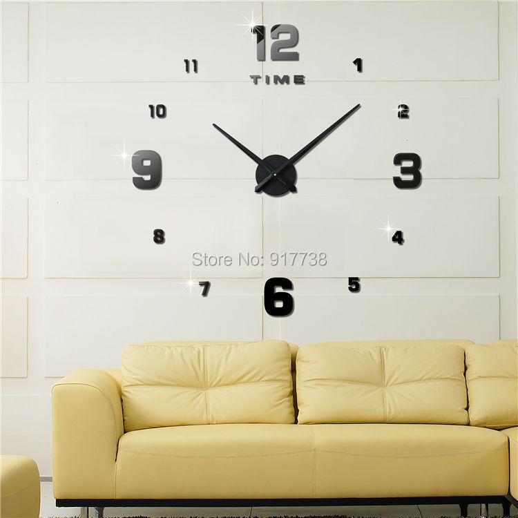 Large Decorative Wall Clocks 3d Acrylic Mirror Clock Modern Design 3M005 - Leo Sweet Home store