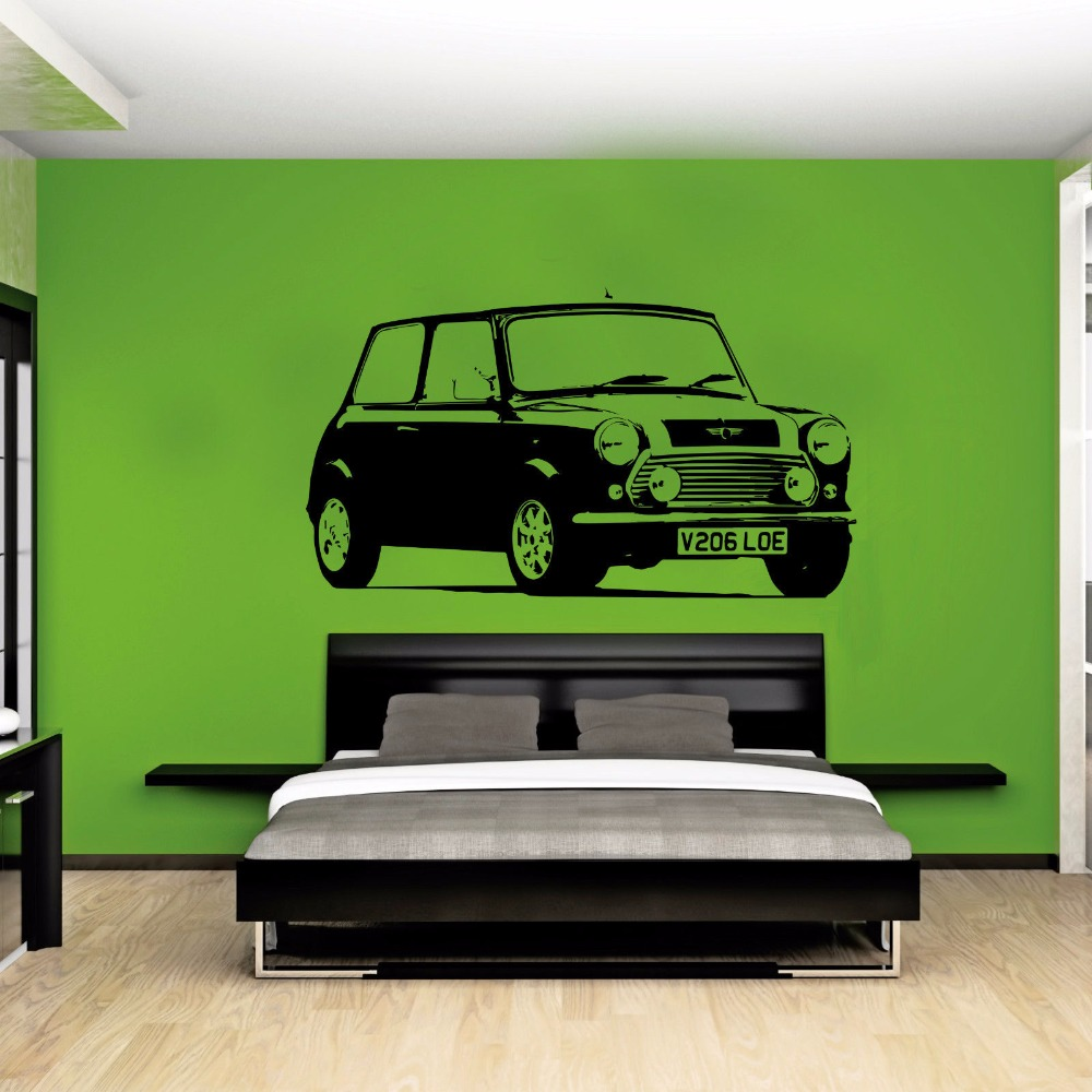 Large car mini cooper classic bedroom wall art decal for Cars wall mural sticker