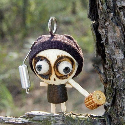 "Funny 2"" Handmade Voodoo Doll Pendant Smoking Ghost Wood Toy Halloween Crafts 100 pcs"