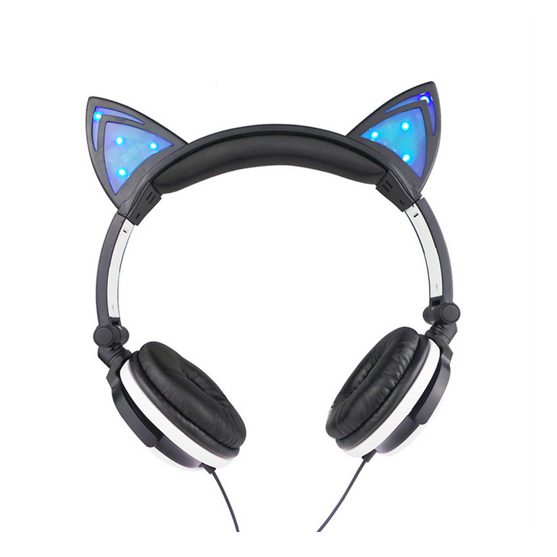 Lovely Foldable Cute LED Light Gaming Headphones With Cat Ears Shape Earphone For PC Computer Mobile Phone MP3(China (Mainland))