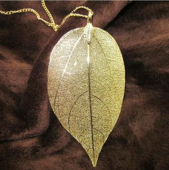 Hot Sale18K Gold and Silver Plated Maxi Colar Natural Real Leaf Dipped Long Leaf Necklaces & Pendants (Sending Gift Box)