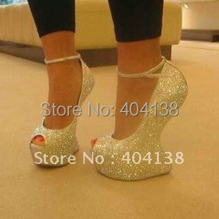 New Summer Sexy No heel shoes crystal rhinestone wedding fish mouth pumps Daffodil platforms women's wedges sandals size 34-42