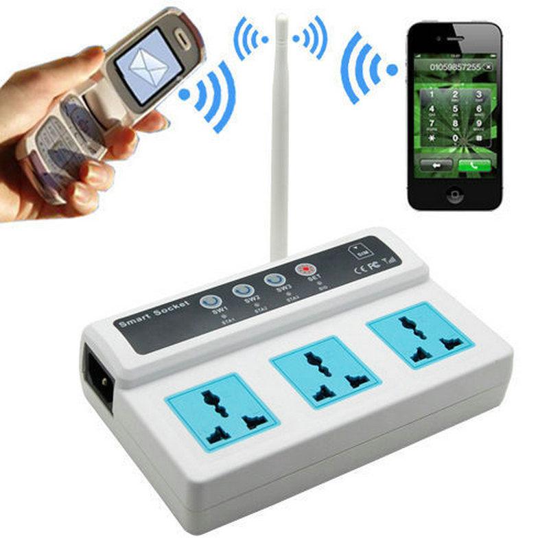 3 Sockets Remote Control Wireless Mobile Phone GSM SIM Smart Socket Switch SC3(China (Mainland))