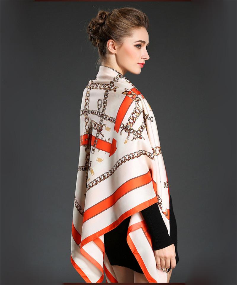2016 New Arrival Silk Scarf Women Brand Twill Silk Pashmina Classic Link Chain Shawl Summer Big Square Handkerchief 130cm Blue(China (Mainland))