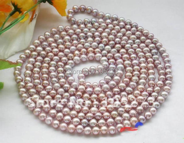 100inchs Long Pearl Necklace AA 8-9MM Lavender Round Freshwater Cultured Pearl Necklace Fashion Women's Jewelry Hot Sale FN1413