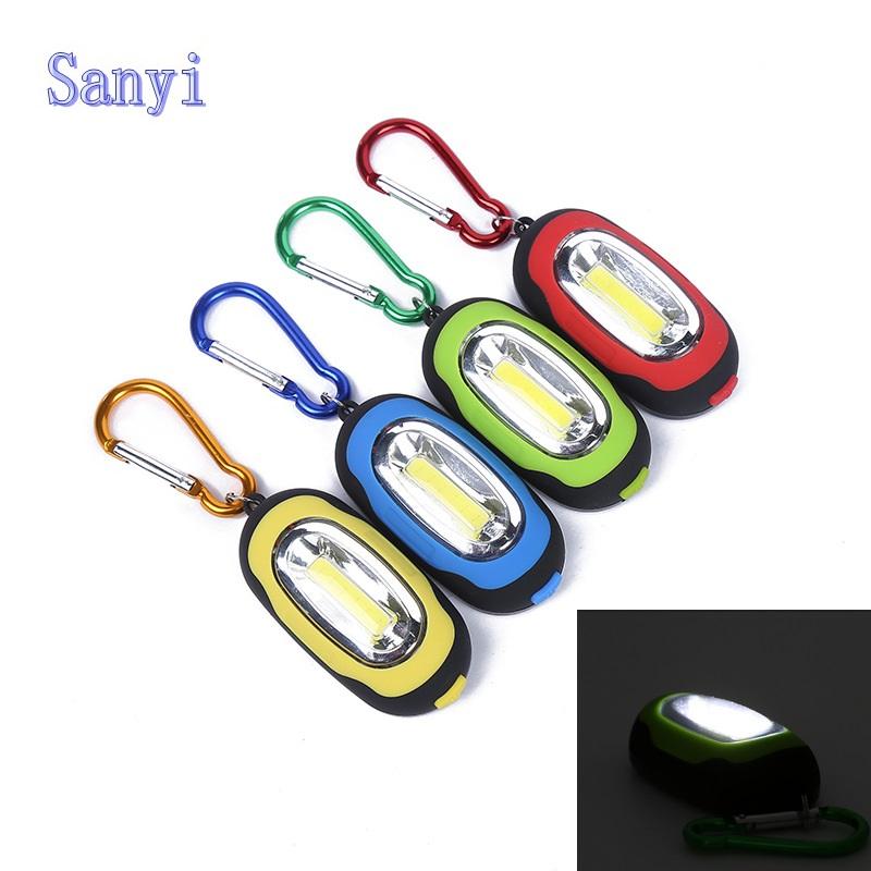 Sanyi Creative COB LED Flashlight Light 3 Modes Mini Lamp Key Chain Ring Keychain PVC Lamp Torch Keyring Green/Red/Yellow/Blue(China (Mainland))