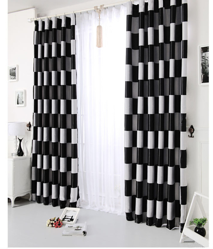 Black white plaid print on fabric full black out window curtains light shading drapefor bedroom finished size with grommet(China (Mainland))