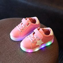 2018 الخريف جديد خفيفة الوزن الأطفال أحذية للأولاد الفتيات مصباح ليد مضيء الأحذية حذاء للأطفال الرياضية متوهجة رياضية(China)