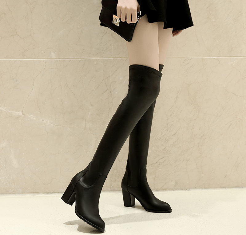 2015 winter Autumn New Slip-On Over Knee Boots Women Solid Colors Pointed Toe Square Heels Over Knee Boots size 34-47 R1120