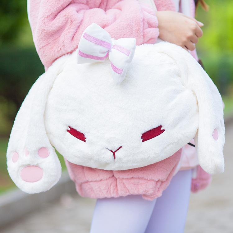 Winter New Super Cute Lolita Mori Girl White Bunny Rabbit Head Plush Handbag Mini Lop Clutch Travel Shoulder Bag<br><br>Aliexpress