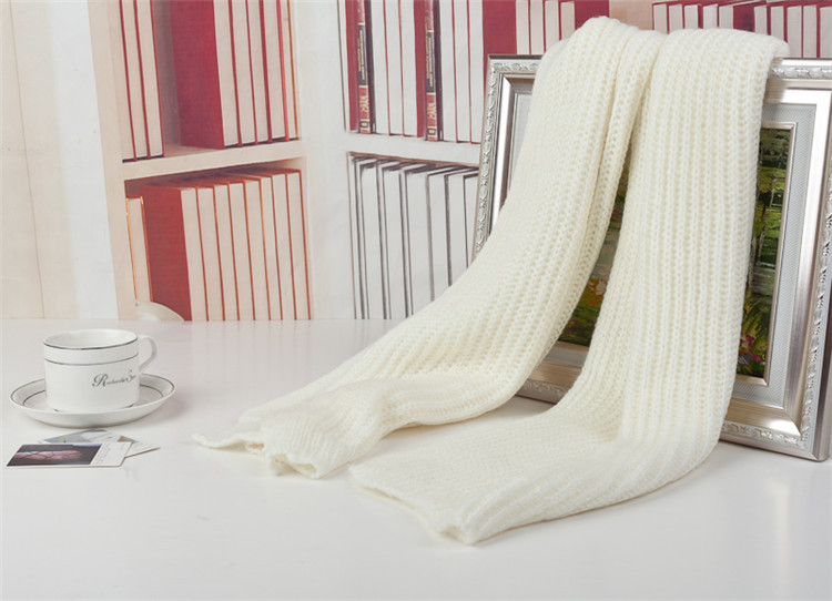 2015 autumn winter ultra long solid color yarn scarf muffler white Men women Mohair - yuetao wu's store