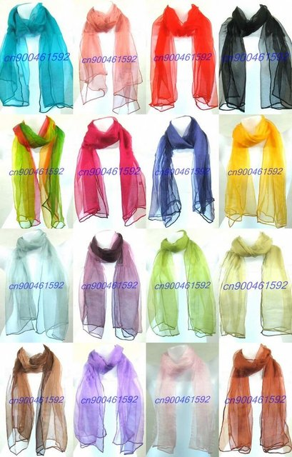 Free shipping! job lots 20 silk Scarves Shawl chiffon scarf soild