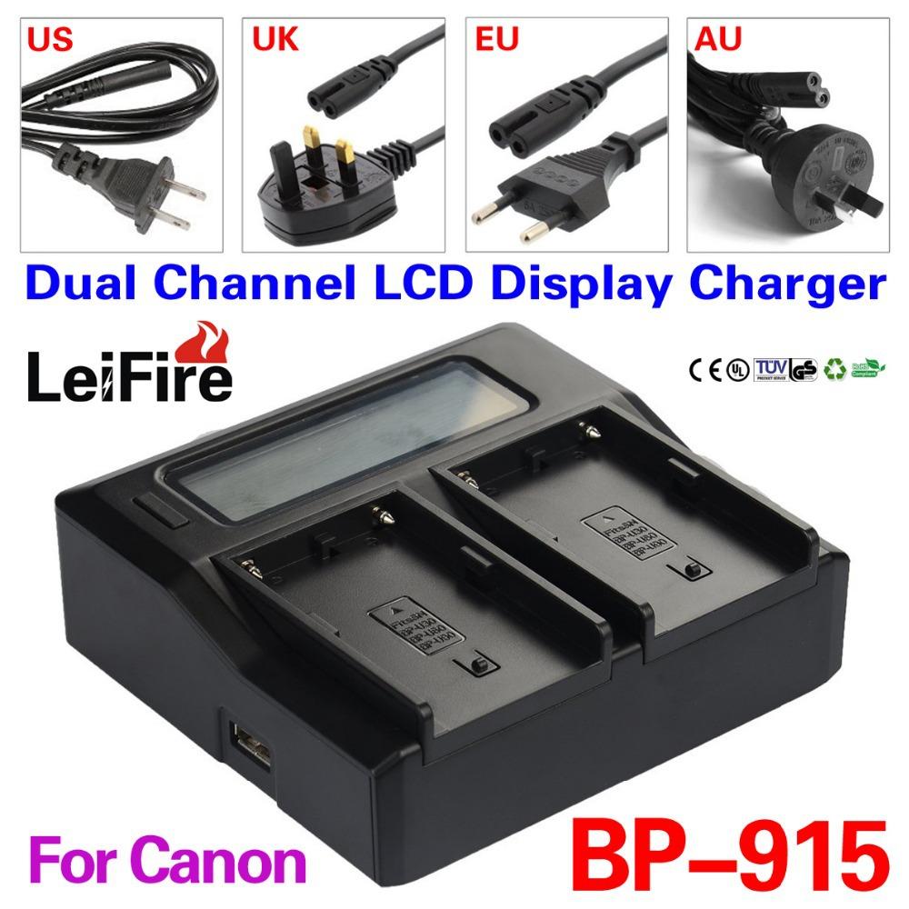 Dual Channel LCD Display Charger BP-915 BP-914 BP-911 Canon BP911 BP914 BP915 BP924 BP930 BP945 Camera Battery - JUSTDO store