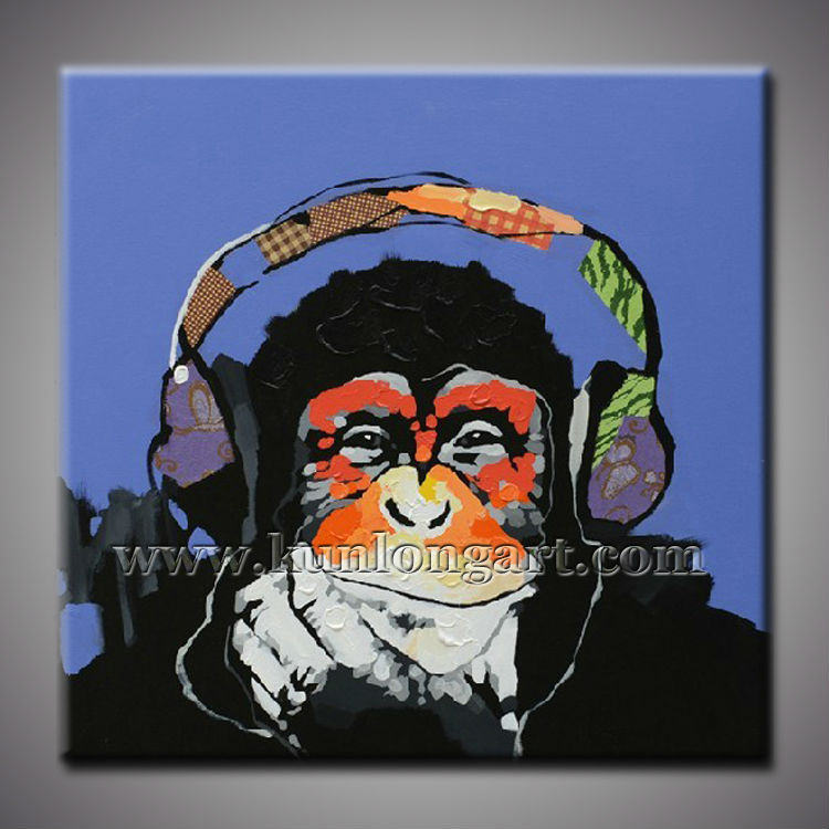 Framed Top Quality Cheap Handmade Oil Paintings Gorilla Picture Modern Abstract Decorative Wall Art Animal Canvas Painting(China (Mainland))