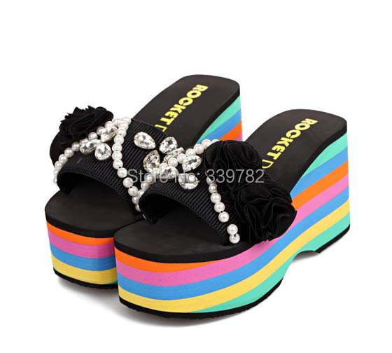 Brand New 2015 Fashion Women platforms Sandals 9.5cm high heels Slides Luxury Diamond beaded flowers grils summer shoes 35-38. - Super Sheen Store store