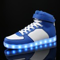 DoGeek 2016 Men Women Fashion LED Light up shoes Blue White Mixed Colors High Top Chaussure