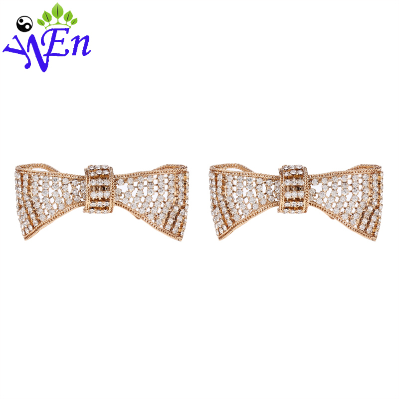Wholesale fashion bow shoe clips rhinestone crystal decorative flower shoes accessories buckle for wedding decoration N507(China (Mainland))
