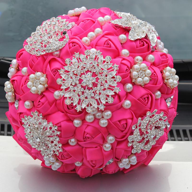 BEST Quality 2016 Luxurious Diamond Brooch Wedding Bridal Bouquet Crystal Fuchsia Bouquet Silk Rose Artificial Flower Custom(China (Mainland))
