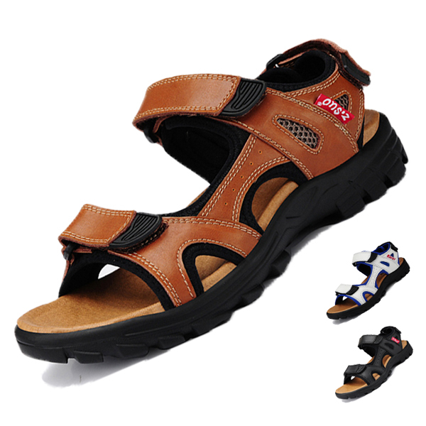 2015 summer new men's leather sandals  men's breathable casual shoes
