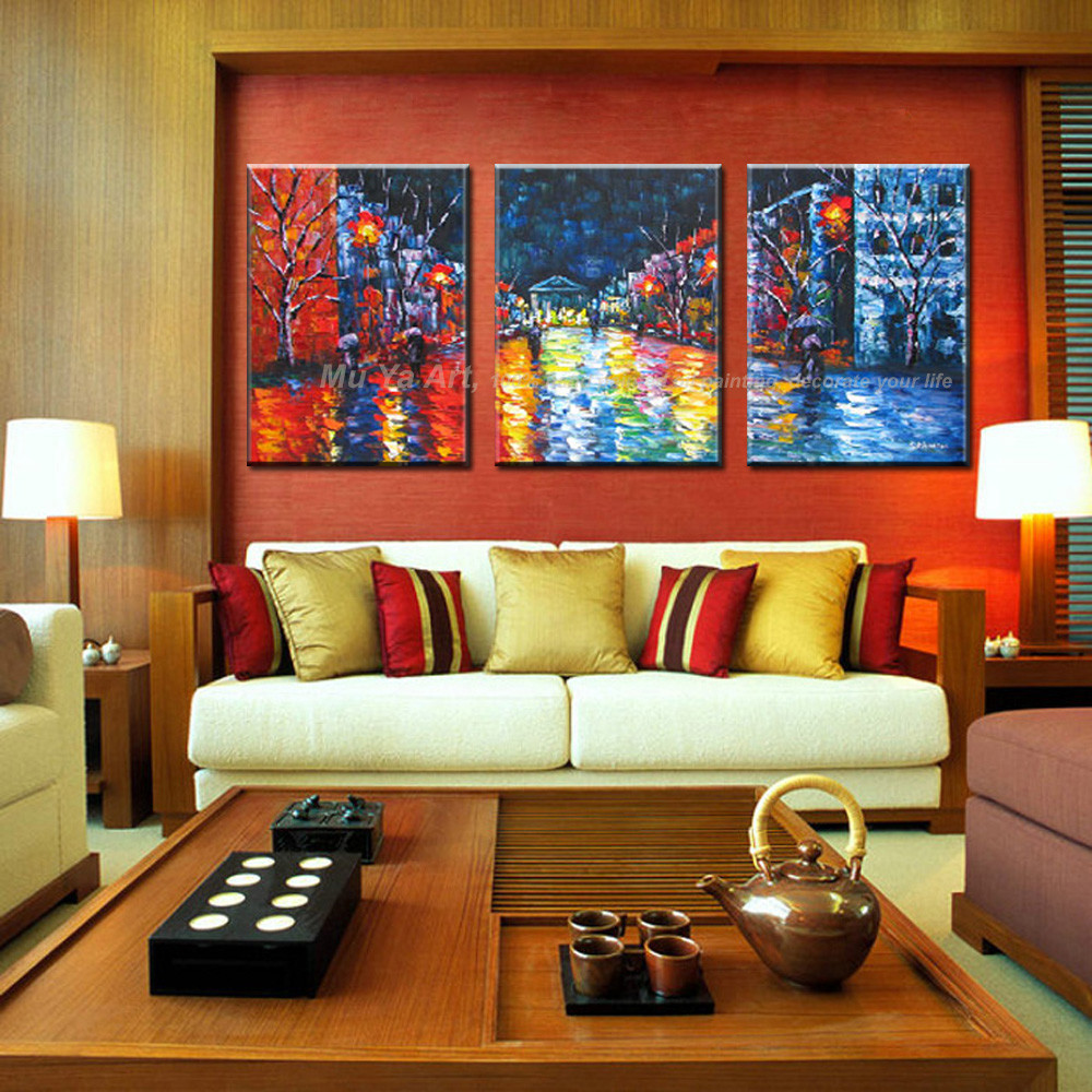 Buy Abstract modern 3 piece canvas wall Paulette painting oil painting on canvas knife handmade for living room pictures  decoration cheap