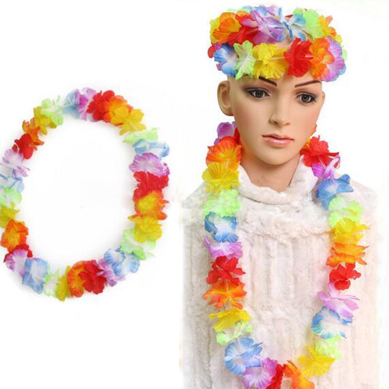 10pcs/lot Hawaiian leis Party Supplies Garland Necklace Colorful Fancy Dress Party Hawaii Beach Fun(China (Mainland))