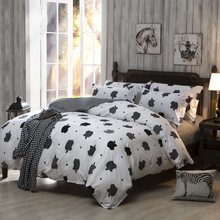 2016 Hot Sale Black And White Home Textiles Plain Printed Comforters Cheap Soft Bedding Sets Twin Queen King Size(China (Mainland))
