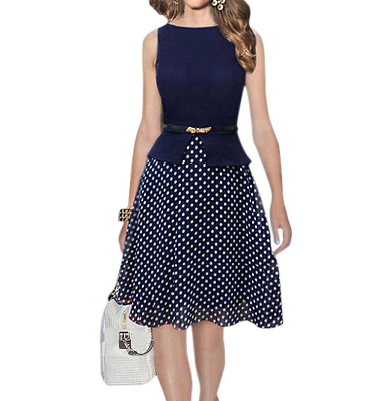 elegant plus size modest vintage polka dot pin up peplum dress ladies rockabilly kleider. Black Bedroom Furniture Sets. Home Design Ideas
