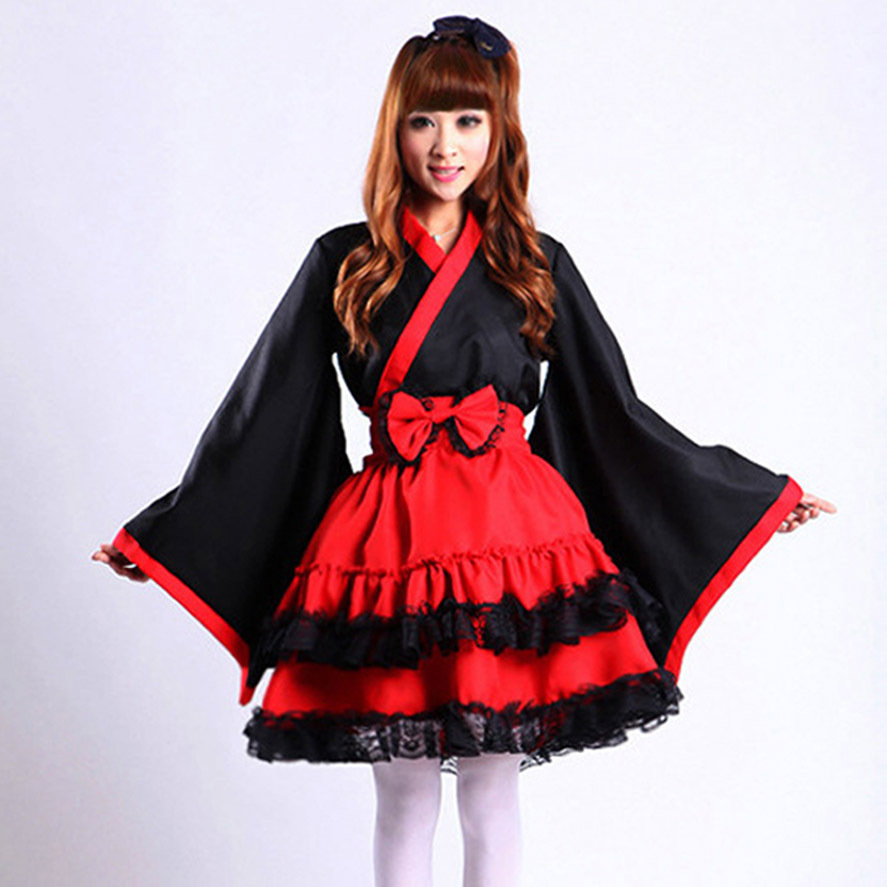 Elegant Gothic Lolita Suit For Women Japanese Kimono Top