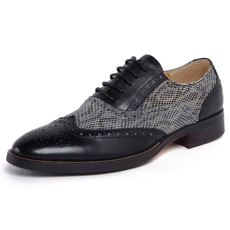 2015 new fashion carved cowhide mens dress shoes genuine leather pointed toe serpentine pattern brogue party wedding shoes<br><br>Aliexpress
