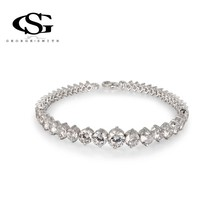 G&S  CZ Platinum Plating Luxury Round Bracelet with Arrow Heart Cuting Set for Goddess Stones Bangle Statement Jewelry(China (Mainland))