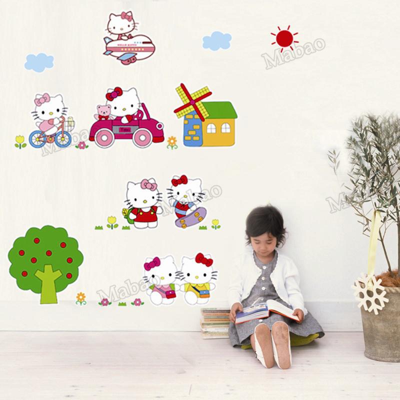 Free Shipping Mabao 1pcs Cartoon Wall Sticker Baby Room Decoration 'Lovely Kitty' Wallpaper Removable DIY Wall Poster AY619(China (Mainland))