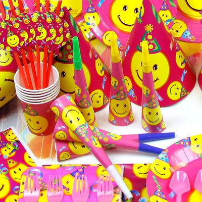 2014 Real Decoration Navidad Children's Birthday Supplies Smiley Baby Items Big Smile Theme Happy 60pcs/set - Super- mami clothing store