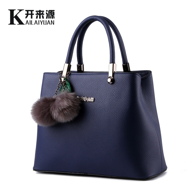 KLY 100% Genuine leather Women handbags 2016 New package of female hair ball hanging commuter Messenger Shoulder Bag(China (Mainland))