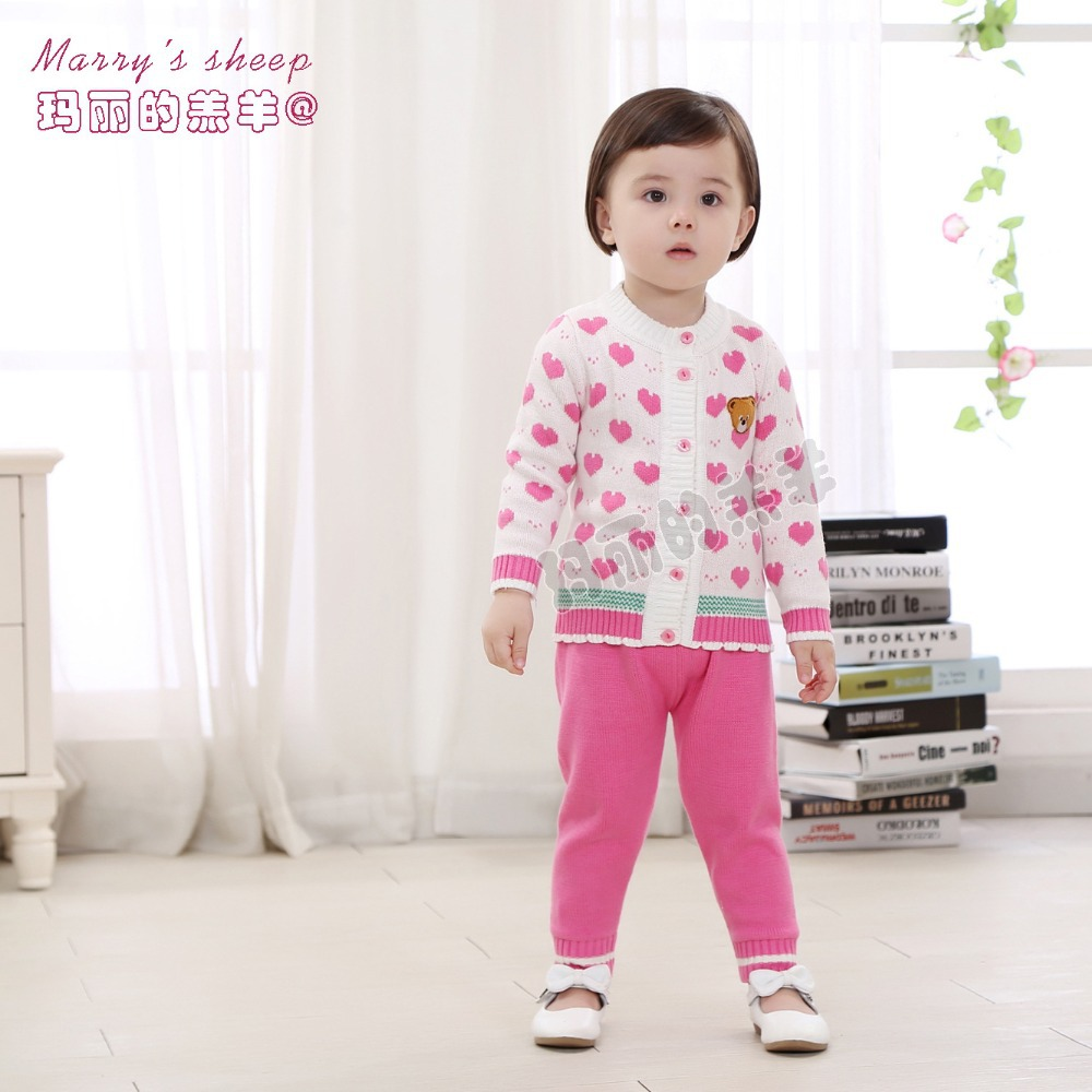 2015 New 100%Combed Cotton 2 Pieces Baby Clothing Set Cardigan+Leggings Pink White Toddler Kids Cartoon Baby Sweaters(China (Mainland))