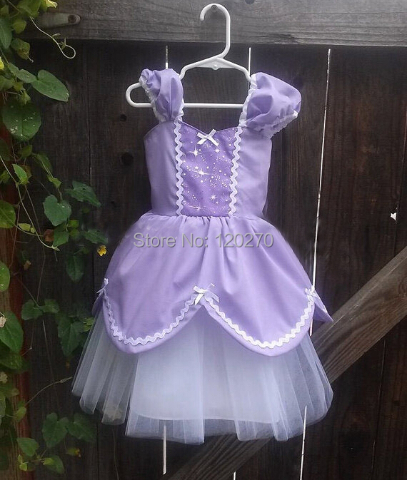Summer Baby Girls Lovely Cinderella Purple Princess Dress Bow Tutu Children Layered Kids Chiffon - Honey Baby's store