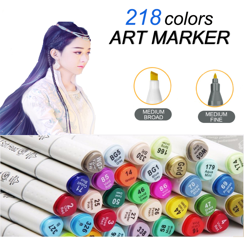 Art Supplies 218 Colors Dual Head Sketch Copic Markers Set For School Student Drawing Sketch Marker Pen Posters Design(China (Mainland))