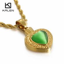 KALEN บัลแกเรียทองสแตนเลสสตีลหัวใจสร้อยคอผู้หญิงคริสตัลหัวใจ Charm Choker สร้อยคอหมั้นเครื่องประดับ(China)