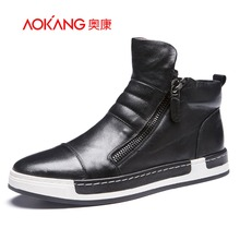 AOKANG 2016 Winter Men's Casual Shoes Genuine leather shoes New Style Fashionable Comfortable Men flat Shoe(China (Mainland))