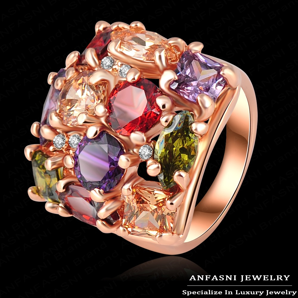 High Quality Multicolor Austrian Crystal SWA Element Engagement Rings With 18K Rose Gold Plate & AAA Zircon Jewelry Ri-HQ0284(China (Mainland))