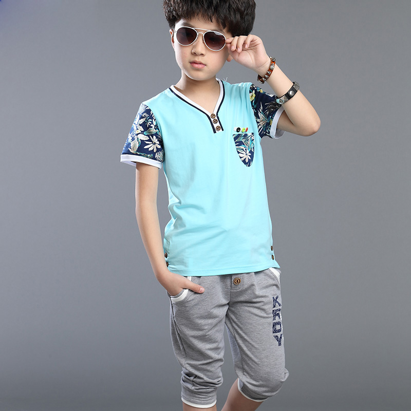 Summer big boys setschildren's clothing child summer floral short-sleeve kids sports suit for baby boy T-shirt + pants twinset(China (Mainland))