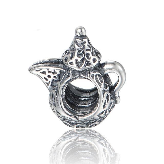 Кофейник бусины Breloque старинные бусины 925 серебряные ювелирные изделия бусины Fit пандора браслеты DIY мода ювелирных изделий