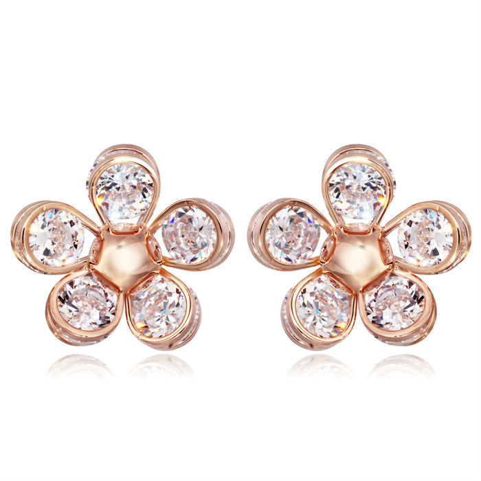 NICETER 2015 Sunflower Cubic Zircon Diamond Flower Brincos Fashion Hotsale Earrings Ladies Accessories - Niceter Jewelry store