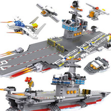 COGO 13349 Military Building Block Sets Aircraft Carrier Armoured Fighter Helicopter 881pcs Educational DIY Bricks Toys