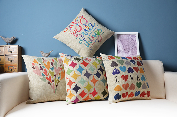 wedding gift colorful hearts love enjoy little things words pattern cushion cover decorative throw pillow case - Joy's Little Shop store