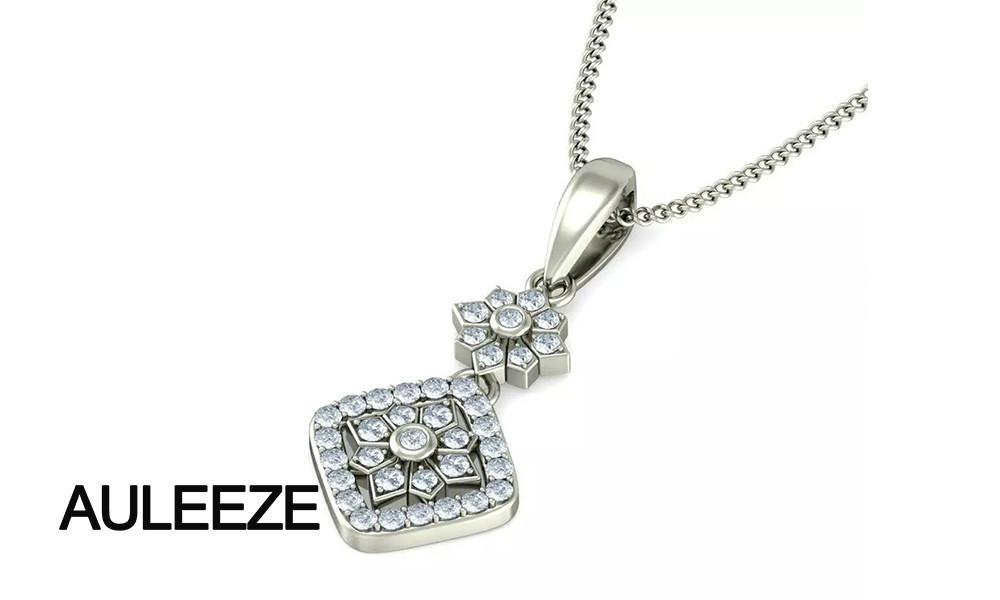 Твердые 14 К 585 Белое Золото Кулон Halo Формы Цветка Настоящее Природные Алмазы Кулон Ожерелье Для Женщин, 18' цепи Ювелирных Изделий С Бриллиантами