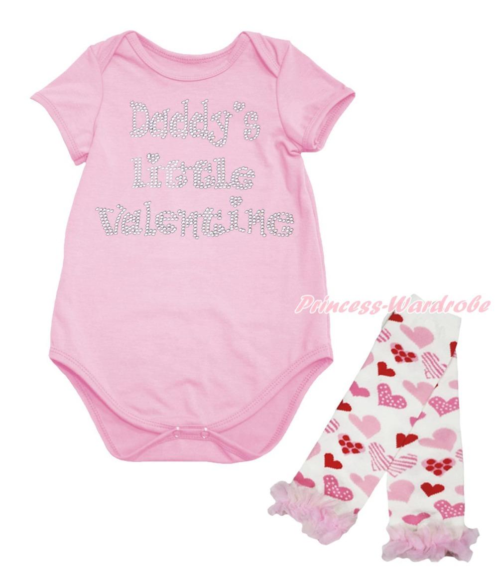 Daddy Little Valentine Pink Baby One Piece Girl Bodysuit Heart Leg Warmer NB-18M(Hong Kong)