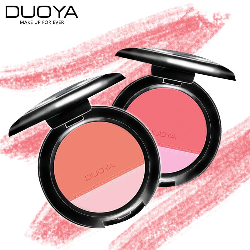 New DUOYA 2 Colors Professional Blush Palette With Brush To Face Naked Long Lasting Illuminator Makeup Korean Cosmetics(China (Mainland))