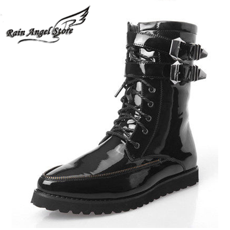 Black patent leather winter boots